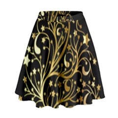 Decorative Starry Christmas Tree Black Gold Elegant Stylish Chic Golden Stars High Waist Skirt