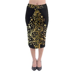 Decorative Starry Christmas Tree Black Gold Elegant Stylish Chic Golden Stars Midi Pencil Skirt