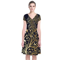 Decorative Starry Christmas Tree Black Gold Elegant Stylish Chic Golden Stars Short Sleeve Front Wrap Dress