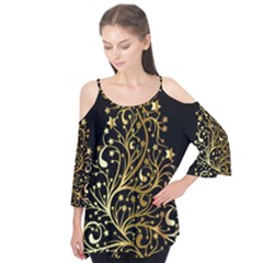 Decorative Starry Christmas Tree Black Gold Elegant Stylish Chic Golden Stars Flutter Tees