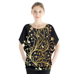 Decorative Starry Christmas Tree Black Gold Elegant Stylish Chic Golden Stars Blouse