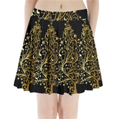 Decorative Starry Christmas Tree Black Gold Elegant Stylish Chic Golden Stars Pleated Mini Skirt