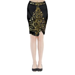 Decorative Starry Christmas Tree Black Gold Elegant Stylish Chic Golden Stars Midi Wrap Pencil Skirt