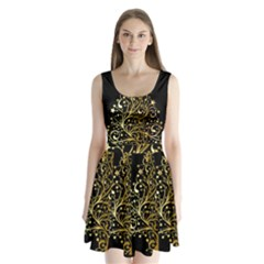 Decorative Starry Christmas Tree Black Gold Elegant Stylish Chic Golden Stars Split Back Mini Dress