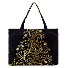 Decorative Starry Christmas Tree Black Gold Elegant Stylish Chic Golden Stars Medium Zipper Tote Bag