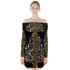 Decorative Starry Christmas Tree Black Gold Elegant Stylish Chic Golden Stars Long Sleeve Off Shoulder Dress