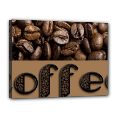 Funny Coffee Beans Brown Typography Canvas 16  x 12