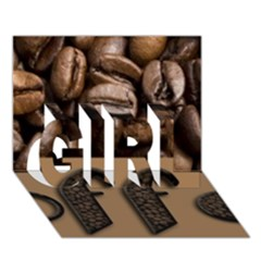 Funny Coffee Beans Brown Typography GIRL 3D Greeting Card (7x5)