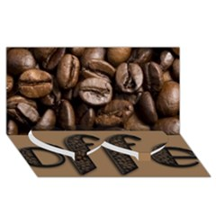Funny Coffee Beans Brown Typography Twin Heart Bottom 3D Greeting Card (8x4)
