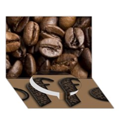 Funny Coffee Beans Brown Typography Circle Bottom 3D Greeting Card (7x5)