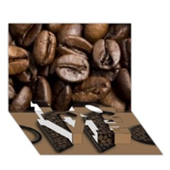 Funny Coffee Beans Brown Typography LOVE Bottom 3D Greeting Card (7x5)