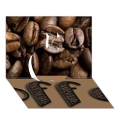 Funny Coffee Beans Brown Typography Apple 3D Greeting Card (7x5)