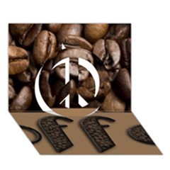Funny Coffee Beans Brown Typography Peace Sign 3D Greeting Card (7x5)