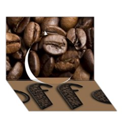 Funny Coffee Beans Brown Typography Circle 3D Greeting Card (7x5)