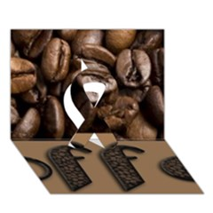 Funny Coffee Beans Brown Typography Ribbon 3D Greeting Card (7x5)
