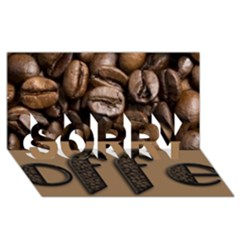 Funny Coffee Beans Brown Typography SORRY 3D Greeting Card (8x4)