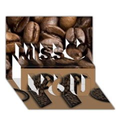 Funny Coffee Beans Brown Typography Miss You 3D Greeting Card (7x5)