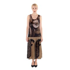 Funny Coffee Beans Brown Typography Sleeveless Maxi Dress