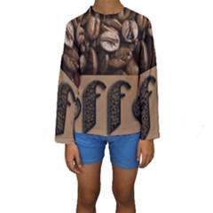 Funny Coffee Beans Brown Typography Kids  Long Sleeve Swimwear