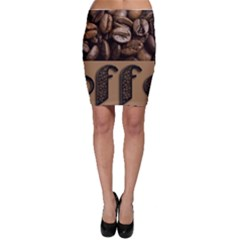 Funny Coffee Beans Brown Typography Bodycon Skirt