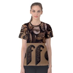 Funny Coffee Beans Brown Typography Women s Cotton Tee