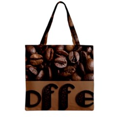 Funny Coffee Beans Brown Typography Grocery Tote Bag