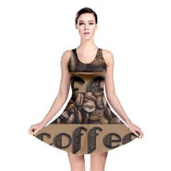 Funny Coffee Beans Brown Typography Reversible Skater Dress