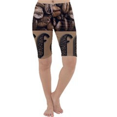 Funny Coffee Beans Brown Typography Cropped Leggings