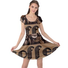 Funny Coffee Beans Brown Typography Cap Sleeve Dresses