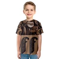 Funny Coffee Beans Brown Typography Kids  Sport Mesh Tee