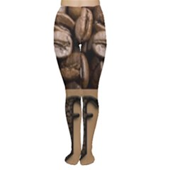 Funny Coffee Beans Brown Typography Women s Tights