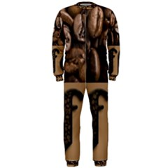 Funny Coffee Beans Brown Typography OnePiece Jumpsuit (Men)