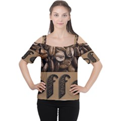 Funny Coffee Beans Brown Typography Women s Cutout Shoulder Tee