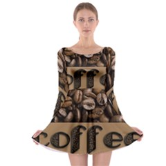 Funny Coffee Beans Brown Typography Long Sleeve Skater Dress