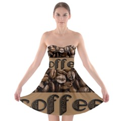 Funny Coffee Beans Brown Typography Strapless Bra Top Dress