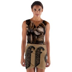 Funny Coffee Beans Brown Typography Wrap Front Bodycon Dress