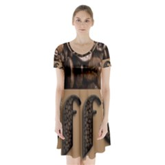 Funny Coffee Beans Brown Typography Short Sleeve V Neck Flare Dress