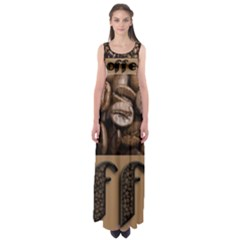 Funny Coffee Beans Brown Typography Empire Waist Maxi Dress