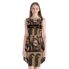 Funny Coffee Beans Brown Typography Sleeveless Chiffon Dress