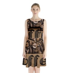 Funny Coffee Beans Brown Typography Sleeveless Chiffon Waist Tie Dress