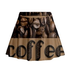 Funny Coffee Beans Brown Typography Mini Flare Skirt