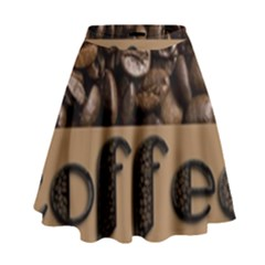 Funny Coffee Beans Brown Typography High Waist Skirt