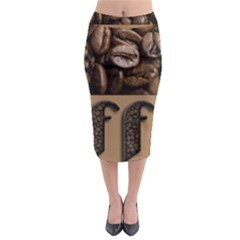 Funny Coffee Beans Brown Typography Midi Pencil Skirt