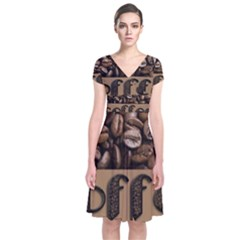 Funny Coffee Beans Brown Typography Short Sleeve Front Wrap Dress