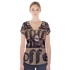 Funny Coffee Beans Brown Typography Short Sleeve Front Detail Top