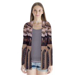 Funny Coffee Beans Brown Typography Drape Collar Cardigan