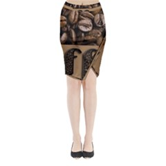 Funny Coffee Beans Brown Typography Midi Wrap Pencil Skirt
