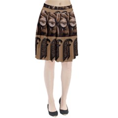 Funny Coffee Beans Brown Typography Pleated Skirt