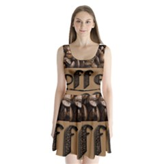 Funny Coffee Beans Brown Typography Split Back Mini Dress