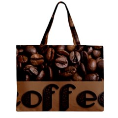 Funny Coffee Beans Brown Typography Medium Zipper Tote Bag